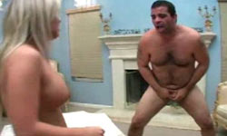 Blonde tortures  cock and balls