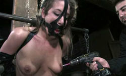 Orgasms bound in tight leather strap bondage