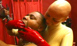 Bald Mistress tortures black slave