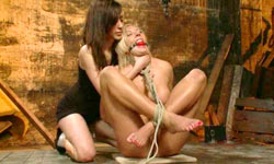 Blonde gets oiled up and used